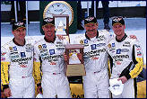 The 2001 Rolex podium, Dale Jnr. with his father, Andy Pilgrim and Kell Collins