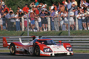 The great Pierre-Henri Raphanel steers his Toyota into Arnage